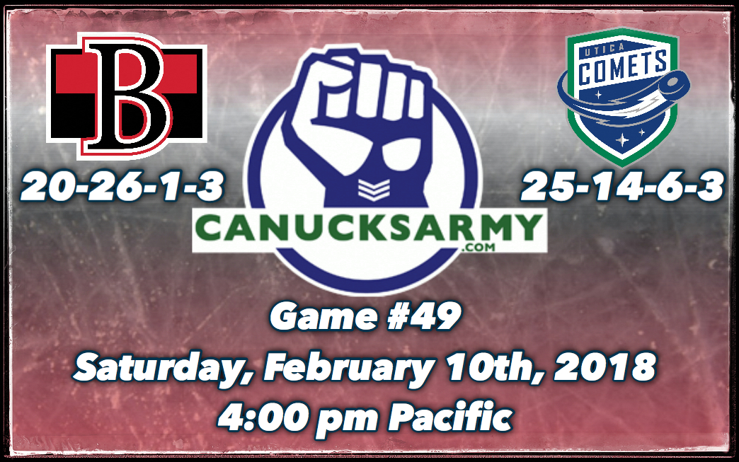 CanucksArmy Utica Comets Post-Game Report: Comets Keep Rolling With 4-3 Win Over Belleville