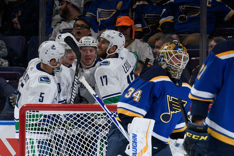 7cb0e33f8 Vancouver Canucks at St. Louis Blues Post-Game Recap  Singeing The Blues –  Canucksarmy