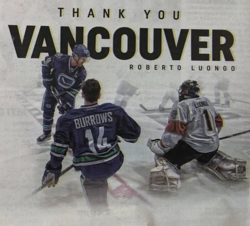 Luongo Thanks Vancouver With Newspaper Ad Canucksarmy