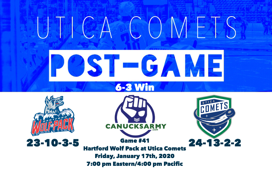 CanucksArmy Utica Comets Post-Game: The Comets Get Four Points From The Gentleman, Three From Lind and a Pair From Juolevi En Route to 6-3 Win Over Hartford