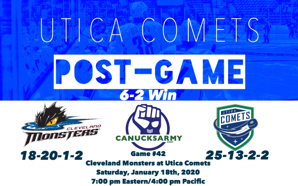 CanucksArmy Utica Comets Post-Game: Comets Score Six Goals For Third Consecutive Game in 6-2 Win Over Cleveland